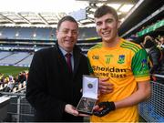 10 February 2019; Eddie Buckley, Head of AIB Bank Dublin South presents John Fitzpatrick of Dunnamaggin with the Man of the Match award for his outstanding performance in the AIB GAA All-Ireland Junior Hurling Club Championship Final match between Castleblayney and Dunnamaggin at Croke Park in Dublin on Sunday, February 10th. For exclusive content and behind the scenes action follow AIB GAA on Facebook, Twitter, Instagram, Snapchat and on www.aib.ie/gaa. Photo by Piaras Ó Mídheach/Sportsfile