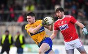 10 February 2019; Jamie Malone of Clare in action against Tómas Clancy of Cork during the Allianz Football League Division 2 Round 3 match between Clare and Cork at Cusack Park in Ennis, Clare. Photo by Sam Barnes/Sportsfile