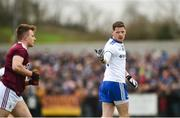 10 February 2019; Conor McManus of Monaghan gestures towards Eoghan Kerin of Galway after scoring a point during the Allianz Football League Division 1 Round 3 match between Monaghan and Galway at Inniskeen in Monaghan. Photo by Daire Brennan/Sportsfile