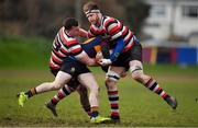 10 February 2019; Lorcan Jones of Skerries is tackled by Daniel Pim, left, and Timmy Morrissey of Enniscorthy during the Bank of Ireland Provincial Towns Cup Round 2 match between Skerries RFC and Enniscorthy RFC at Skerries RFC in Skerries, Dublin. Photo by Brendan Moran/Sportsfile