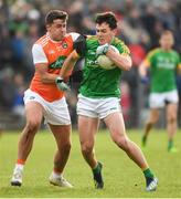10 February 2019; James McEntee of Meath in action against Stefan Campbell of Armagh during the Allianz Football League Division 2 Round 3 match between Meath and Armagh at Páirc Tailteann in Navan, Meath. Photo by Eóin Noonan/Sportsfile