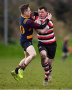 10 February 2019; Daniel Pim of Enniscorthy is tackled by Lorcan Jones of Skerries during the Bank of Ireland Provincial Towns Cup Round 2 match between Skerries RFC and Enniscorthy RFC at Skerries RFC in Skerries, Dublin. Photo by Brendan Moran/Sportsfile