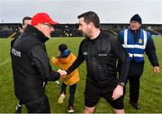 10 February 2019; Tyrone manager Mickey Harte shakes hands with referee Noel Mooney following the Allianz Football League Division 1 Round 3 match between Roscommon and Tyrone at Dr. Hyde Park in Roscommon. Photo by Seb Daly/Sportsfile