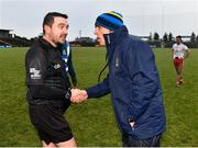 10 February 2019; Referee Noel Mooney shakes hands with Roscommon manager Anthony Cunningham following the Allianz Football League Division 1 Round 3 match between Roscommon and Tyrone at Dr. Hyde Park in Roscommon. Photo by Seb Daly/Sportsfile