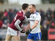 10 February 2019; Cein D'Arcy of Galway shakes hands with Vinny Corey of Monaghan after the Allianz Football League Division 1 Round 3 match between Monaghan and Galway at Inniskeen in Monaghan. Photo by Daire Brennan/Sportsfile