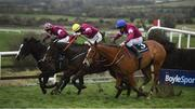 10 February 2019; Dounikos, with Davy Russell up, right, jumps the last on their way to winning alongside, eventual third place finisher, General Principle, with Jack Kennedy up, centre, and eventual second place finisher, Wishmoor, with Andrew Ring up, during the BoyleSports Grand National Trial Handicap Steeplechase on-board Dounikos at Punchestown Racecourse in Naas, Co. Kildare. Photo by David Fitzgerald/Sportsfile