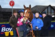 10 February 2019; Jockey Davy Russell with Dounikos and the winning connections including Eddie O'Leary of Gigginstown Stud, left, and trainer Gordon Elliott after winning the BoyleSports Grand National Trial Handicap Steeplechase on-board Dounikos at Punchestown Racecourse in Naas, Co. Kildare. Photo by David Fitzgerald/Sportsfile