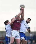 10 February 2019; Thomas Flynn of Galway in action against Darren Hughes, left, and Neil McAdam of Monaghan during the Allianz Football League Division 1 Round 3 match between Monaghan and Galway at Inniskeen in Monaghan. Photo by Daire Brennan/Sportsfile
