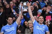 10 February 2019; Oranmore-Maree joint-captains Gearóid McInerney, left, and Niall Burke lift the cup after the AIB GAA Hurling All-Ireland Intermediate Championship Final match between Charleville and Oranmore-Maree at Croke Park in Dublin. Photo by Piaras Ó Mídheach/Sportsfile