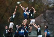 10 February 2019; Cameron Reece of Scotland competes for a lineout with JJ O'Dea of Ireland during the Irish Universities Rugby Union match between Ireland and Scotland at Queens University in Belfast, Antrim. The Maxol Ireland's Students took on their Scottish counterparts in the annual International Colours match at Queen's University Belfast today. Ireland were victorious with a hard fought 31- 03 win against the visitors. This is Maxol's 27th year of IURU sponsorship, one of the longest and most enduring rugby sponsorships in Ireland  at Queens University in Belfast, Antrim. Photo by Oliver McVeigh/Sportsfile