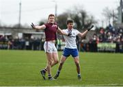 10 February 2019; Kieran Duggan of Galway and Dessie Mone of Monaghan pull each other's jerseys during the Allianz Football League Division 1 Round 3 match between Monaghan and Galway at Inniskeen in Monaghan. Photo by Daire Brennan/Sportsfile