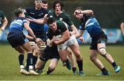 10 February 2019; Dan Sheehan of Ireland is tackled by Alex Ball of Scotland during the Irish Universities Rugby Union match between Ireland and Scotland at Queens University in Belfast, Antrim. The Maxol Ireland's Students took on their Scottish counterparts in the annual International Colours match at Queen's University Belfast today. Ireland were victorious with a hard fought 31- 03 win against the visitors. This is Maxol's 27th year of IURU sponsorship, one of the longest and most enduring rugby sponsorships in Ireland  at Queens University in Belfast, Antrim. Photo by Oliver McVeigh/Sportsfile