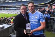 10 February 2019; Eddie Buckley, Head of AIB Bank Dublin South presents Niall Burke of Oranmore-Maree with the Man of the Match award for his outstanding performance in the AIB GAA All-Ireland Intermediate Hurling Club Championship Final match between Charleville and Oranmore-Maree at Croke Park in Dublin on Sunday, February 10th. For exclusive content and behind the scenes action follow AIB GAA on Facebook, Twitter, Instagram, Snapchat and on www.aib.ie/gaa. Photo by Piaras Ó Mídheach/Sportsfile
