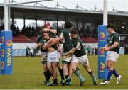 10 February 2019; Rowan Osborne of Ireland, centre, is congratulated by his teammates after scoring his side's third try during the Irish Universities Rugby Union match between Ireland and Scotland at Queens University in Belfast, Antrim. The Maxol Ireland's Students took on their Scottish counterparts in the annual International Colours match at Queen's University Belfast today. Ireland were victorious with a hard fought 31- 03 win against the visitors. This is Maxol's 27th year of IURU sponsorship, one of the longest and most enduring rugby sponsorships in Ireland  at Queens University in Belfast, Antrim. Photo by Oliver McVeigh/Sportsfile