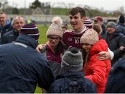 10 February 2019; Shane Walsh of Galway celebrates with supporters after the Allianz Football League Division 1 Round 3 match between Monaghan and Galway at Inniskeen in Monaghan. Photo by Daire Brennan/Sportsfile