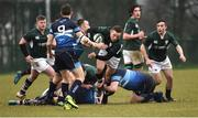 10 February 2019; Cian Bohane of Ireland is tackled by Billy Dineen of Scotland during the Irish Universities Rugby Union match between Ireland and Scotland at Queens University in Belfast, Antrim. The Maxol Ireland's Students took on their Scottish counterparts in the annual International Colours match at Queen's University Belfast today. Ireland were victorious with a hard fought 31- 03 win against the visitors. This is Maxol's 27th year of IURU sponsorship, one of the longest and most enduring rugby sponsorships in Ireland  at Queens University in Belfast, Antrim. Photo by Oliver McVeigh/Sportsfile