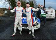 10 February 2019; Craig Breen and Paul Nagle celebrate after winning the Galway International Rally 2019 in their Ford Fiesta R5 during Round 1 of the Irish Tarmac Rally Championship in Athenry, Co. Galway. Photo by Philip Fitzpatrick/Sportsfile