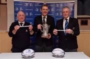 10 February 2019; Padraig Connolly, left, Honorary Secretary, Skerries RFC, Andrew Owen, centre, President, Enniscorthy RFC and representing Bank of Ireland, and Robert Deacon, Senior Vice President, Leinster Branch, draw the names of Wicklow RFC and Dundalk RFC during the Bank of Ireland Provincial Towns Cup Round 3 Draw at Skerries RFC in Skerries, Dublin. Photo by Brendan Moran/Sportsfile