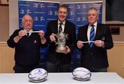 10 February 2019; Padraig Connolly, left, Honorary Secretary, Skerries RFC, Andrew Owen, centre, President, Enniscorthy RFC and representing Bank of Ireland, and Robert Deacon, Senior Vice President, Leinster Branch, draw the names of Enniscorthy RFC and Tullamore RFC during the Bank of Ireland Provincial Towns Cup Round 3 Draw at Skerries RFC in Skerries, Dublin. Photo by Brendan Moran/Sportsfile