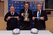 10 February 2019; Padraig Connolly, left, Honorary Secretary, Skerries RFC, Andrew Owen, centre, President, Enniscorthy RFC and representing Bank of Ireland, and Robert Deacon, Senior Vice President, Leinster Branch, draw the names of Ashbourne RFC and Naas and Gorey RFC during the Bank of Ireland Provincial Towns Cup Round 3 Draw at Skerries RFC in Skerries, Dublin. Photo by Brendan Moran/Sportsfile