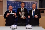 10 February 2019; Padraig Connolly, left, Honorary Secretary, Skerries RFC, Andrew Owen, centre, President, Enniscorthy RFC and representing Bank of Ireland, and Robert Deacon, Senior Vice President, Leinster Branch, draw the names of Longford RFC and Kilkenny RFC during the Bank of Ireland Provincial Towns Cup Round 3 Draw at Skerries RFC in Skerries, Dublin. Photo by Brendan Moran/Sportsfile