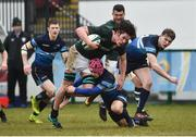 10 February 2019; JJ O'Dea of Ireland is tackled by Martin Cimprich of Scotland during the Irish Universities Rugby Union match between Ireland and Scotland at Queens University in Belfast, Antrim. The Maxol Ireland's Students took on their Scottish counterparts in the annual International Colours match at Queen's University Belfast today. Ireland were victorious with a hard fought 31- 03 win against the visitors. This is Maxol's 27th year of IURU sponsorship, one of the longest and most enduring rugby sponsorships in Ireland at Queens University in Belfast, Antrim. Photo by Oliver McVeigh/Sportsfile