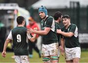 10 February 2019; Rowan Osborne, 9, and Brendan McSorley of Ireland celebrate after the Irish Universities Rugby Union match between Ireland and Scotland at Queens University in Belfast, Antrim. The Maxol Ireland's Students took on their Scottish counterparts in the annual International Colours match at Queen's University Belfast today. Ireland were victorious with a hard fought 31- 03 win against the visitors. This is Maxol's 27th year of IURU sponsorship, one of the longest and most enduring rugby sponsorships in Ireland at Queens University in Belfast, Antrim. Photo by Oliver McVeigh/Sportsfile