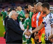 9 February 2019; President of Ireland Michael D Higgins greets Dane Massey of Dundalk prior to the 2019 President's Cup Final between Cork City and Dundalk at Turners Cross in Cork. Photo by Stephen McCarthy/Sportsfile