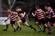 10 February 2019; Robbie Jenkinson of Skerries is tackled by Paddy Waters of Enniscorthy during the Bank of Ireland Provincial Towns Cup Round 2 match between Skerries RFC and Enniscorthy RFC at Skerries RFC in Skerries, Dublin. Photo by Brendan Moran/Sportsfile