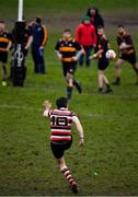 10 February 2019; Ivan Poole of Enniscorthy kicks a conversion during the Bank of Ireland Provincial Towns Cup Round 2 match between Skerries RFC and Enniscorthy RFC at Skerries RFC in Skerries, Dublin. Photo by Brendan Moran/Sportsfile