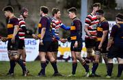 10 February 2019; Players from both teams shake hands after the Bank of Ireland Provincial Towns Cup Round 2 match between Skerries RFC and Enniscorthy RFC at Skerries RFC in Skerries, Dublin. Photo by Brendan Moran/Sportsfile