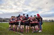 10 February 2019; The Enniscorthy team huddle after the Bank of Ireland Provincial Towns Cup Round 2 match between Skerries RFC and Enniscorthy RFC at Skerries RFC in Skerries, Dublin. Photo by Brendan Moran/Sportsfile