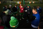 9 February 2019; Gerry O'Riordan speaking players from Dublin and Derry before the final game during the Confederation of Republic of Ireland Supporters Clubs Cup at Leah Victoria Park in Tullamore Town FC, Offaly. Photo by Eóin Noonan/Sportsfile