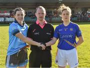 10 February 2019; Referee Garryowen McMahon with Dublin captain Lyndsey Davey and Tipperary captain Samantha Lambert before the Lidl Ladies NFL Round 2 match between Tipperary and Dublin at Ardfinnan in Tipperary. Photo by Matt Browne/Sportsfile
