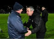 9 February 2019; Dublin manager Jim Gavin and Kerry manager Peter Keane exchange a handshake after the Allianz Football League Division 1 Round 3 match between Kerry and Dublin at Austin Stack Park in Tralee, Co. Kerry. Photo by Diarmuid Greene/Sportsfile