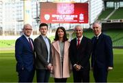 11 February 2019; Sean Cox's son Jack and wife Martina with, from left, Stephen Felle, Trustee of Sean Cox Rehabilitation Trust, former Liverpool player Ian Rush and FAI Chief Executive John Delaney at the launch of the Liverpool Legends v Republic of Ireland XI game at Aviva Stadium. The game, which will be played in Aviva Stadium on Friday, April 12, will act as a fundraising drive for supporter Sean Cox, who continues to recovery following bad injuries sustained ahead of a Liverpool game. Photo by Stephen McCarthy/Sportsfile