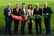 11 February 2019; Sean Cox's son Jack and wife Martina with, from left, Stephen Felle, Trustee of Sean Cox Rehabilitation Trust, former Liverpool and Republic of Ireland player Jason McAteer, former Liverpool player Ian Rush and FAI Chief Executive John Delaney at the launch of the Liverpool Legends v Republic of Ireland XI game at Aviva Stadium. The game, which will be played in Aviva Stadium on Friday, April 12, will act as a fundraising drive for supporter Sean Cox, who continues to recovery following bad injuries sustained ahead of a Liverpool game. Photo by Stephen McCarthy/Sportsfile