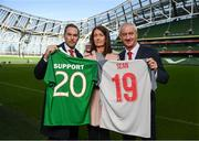 11 February 2019; Sean Cox's wife Martina with former Liverpool players Jason McAteer, left, and Ian Rush at the launch of the Liverpool Legends v Republic of Ireland XI game at Aviva Stadium. The game, which will be played in Aviva Stadium on Friday, April 12, will act as a fundraising drive for supporter Sean Cox, who continues to recovery following bad injuries sustained ahead of a Liverpool game. Photo by Stephen McCarthy/Sportsfile
