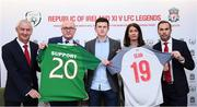 11 February 2019; Sean Cox's son Jack and wife Martina with, from left, former Liverpool player Ian Rush, Stephen Felle, Trustee of Sean Cox Rehabilitation Trust, and former Liverpool and Republic of Ireland player Jason McAteer at the launch of the Liverpool Legends v Republic of Ireland XI game at Aviva Stadium. The game, which will be played in Aviva Stadium on Friday, April 12, will act as a fundraising drive for supporter Sean Cox, who continues to recovery following bad injuries sustained ahead of a Liverpool game. Photo by Stephen McCarthy/Sportsfile