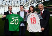 11 February 2019; Sean Cox's wife Martina and son Jack with former Liverpool players Jason McAteer, left, and Ian Rush, right, at the launch of the Liverpool Legends v Republic of Ireland XI game at Aviva Stadium. The game, which will be played in Aviva Stadium on Friday, April 12, will act as a fundraising drive for supporter Sean Cox, who continues to recovery following bad injuries sustained ahead of a Liverpool game. Photo by Stephen McCarthy/Sportsfile