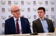 11 February 2019;  Stephen Felle, Trustee of Sean Cox Rehabilitation Trust, left, and Sean Cox's son Jack at the launch of the Liverpool Legends v Republic of Ireland XI game at Aviva Stadium. The game, which will be played in Aviva Stadium on Friday, April 12, will act as a fundraising drive for supporter Sean Cox, who continues to recovery following bad injuries sustained ahead of a Liverpool game. Photo by Stephen McCarthy/Sportsfile