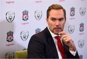 11 February 2019; Former Republic of Ireland and Liverpool player Jason McAteer speaking to media at the launch of the Liverpool Legends v Republic of Ireland XI game at Aviva Stadium. The game, which will be played in Aviva Stadium on Friday, April 12, will act as a fundraising drive for supporter Sean Cox, who continues to recovery following bad injuries sustained ahead of a Liverpool game. Photo by Stephen McCarthy/Sportsfile