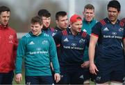 11 February 2019; Players, from left, Darren Sweetnam, Neil Cronin, Ciaran Parker, Niall Scannell, Chris Cloete, Chris Farrell and Billy Holland during Munster Rugby Squad Training at University of Limerick in Limerick. Photo by Piaras Ó Mídheach/Sportsfile