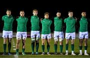 8 February 2019; Ireland players, from left, Harry Byrne, Scott Penny, Martin Moloney, Liam Turner, John Hodnett, Jake Flannery and Conor Phillips stand for the national anthems prior to the U20 Six Nations Rugby Championship match between Scotland and Ireland at Netherdale in Galashiels, Scotland. Photo by Brendan Moran/Sportsfile