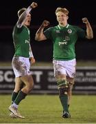 8 February 2019; Martin Moloney, right, and Jake Flannery of Ireland celebrate after the U20 Six Nations Rugby Championship match between Scotland and Ireland at Netherdale in Galashiels, Scotland. Photo by Brendan Moran/Sportsfile