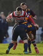 10 February 2019; Ivan Jacob of Ennicorthy is tackled by David Goodman of Skerries during the Bank of Ireland Provincial Towns Cup Round 2 match between Skerries RFC and Enniscorthy RFC at Skerries RFC in Skerries, Dublin. Photo by Brendan Moran/Sportsfile