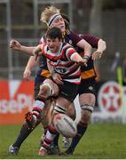10 February 2019; Brian Bolger of Ennicorthy is tackled by Conn Alan Marrey of Skerries during the Bank of Ireland Provincial Towns Cup Round 2 match between Skerries RFC and Enniscorthy RFC at Skerries RFC in Skerries, Dublin. Photo by Brendan Moran/Sportsfile