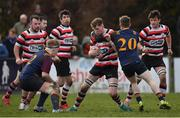 10 February 2019; Tom Ryan of Ennicorthy is tackled by Lorcan Jones of Skerries during the Bank of Ireland Provincial Towns Cup Round 2 match between Skerries RFC and Enniscorthy RFC at Skerries RFC in Skerries, Dublin. Photo by Brendan Moran/Sportsfile