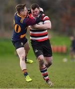 10 February 2019; Daniel Pim of Ennicorthy is tackled by Lorcan Jones of Skerries during the Bank of Ireland Provincial Towns Cup Round 2 match between Skerries RFC and Enniscorthy RFC at Skerries RFC in Skerries, Dublin. Photo by Brendan Moran/Sportsfile