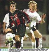 29 September 2003; Robbie Doyle, Bohemians, in action against Tony McCarthy, Shelbourne. eircom league Premier Division, Bohemians v Shelbourne, Dalymount Park, Dublin. Picture credit; David Maher / SPORTSFILE *EDI*